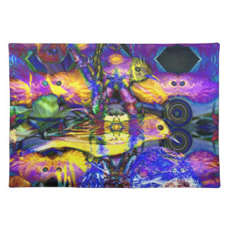 Nature Reflections II - Violet & Gold Birds Placemats