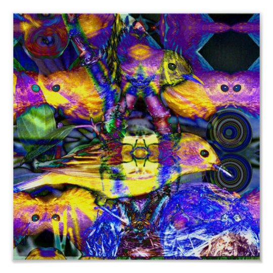 Nature Reflections II - Violet & Gold Birds Poster