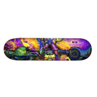 Nature Reflections II - Violet & Gold Birds Custom Skateboard