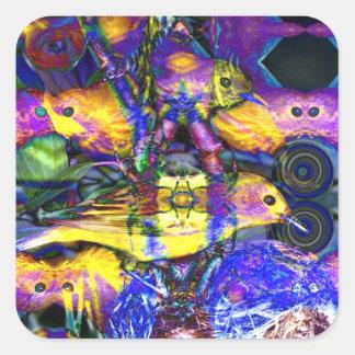 Nature Reflections II - Violet & Gold Birds Sticker