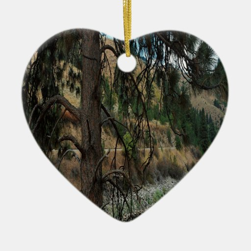 Nature River Pines Valley Double-Sided Heart Ceramic Christmas Ornament