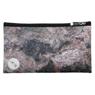 Nature Rock Texture Pinkish Initials Cosmetic Bag