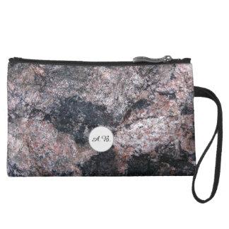 Nature Rock Texture Pinkish Initials Suede Wristlet Wallet