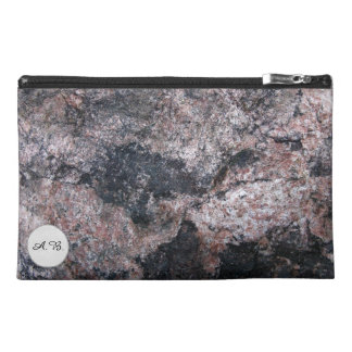 Nature Rock Texture Pinkish Initials Travel Accessory Bags