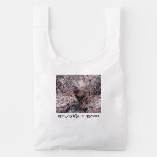 Nature Rock Texture Pinkish with Text Reusable Bag