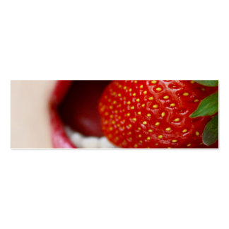 Nature s Candy - Woman Eating Strawberry Business Card Template