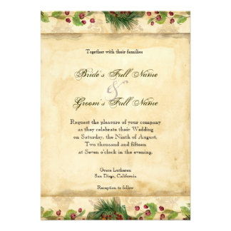 Nature s Christmas Magnolia Wreath n Pine Boughs Invitation