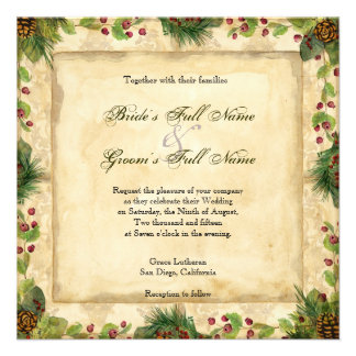 Nature s Christmas Magnolia Wreath n Pine Boughs Invitations