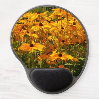 Nature scene gel mouse pad, yellow flowers gel mouse pad