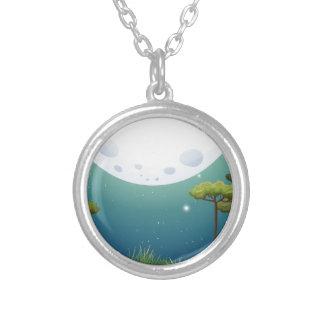 Nature scene on fullmoon night round pendant necklace