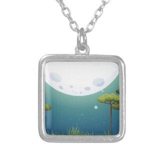 Nature scene on fullmoon night square pendant necklace