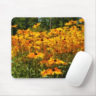 Nature scene, wildflowers, gold yellow flowers, mouse pad