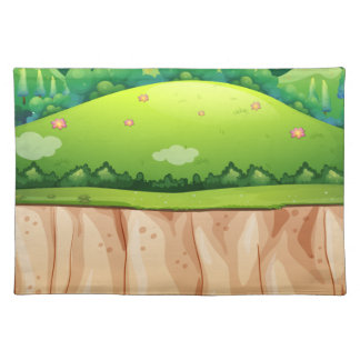 Nature scene with field and cliff cloth placemat