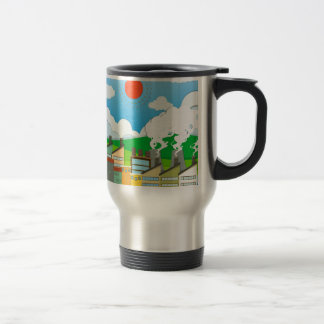 Nature scene with lightwave and house by the beach 15 oz stainless steel travel mug