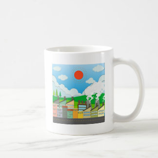 Nature scene with lightwave and house by the beach classic white coffee mug