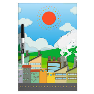Nature scene with lightwave and house by the beach Dry-Erase whiteboards