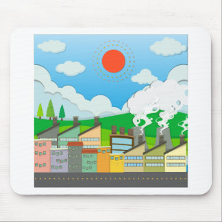 Nature scene with lightwave and house by the beach mouse pad