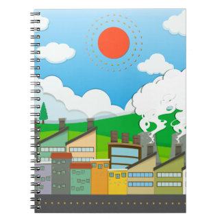 Nature scene with lightwave and house by the beach notebooks