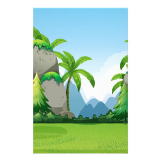 Nature scene with mountains and tree stationery