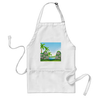 Nature scene with river and mountain adult apron