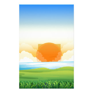 Nature scene with sunset stationery