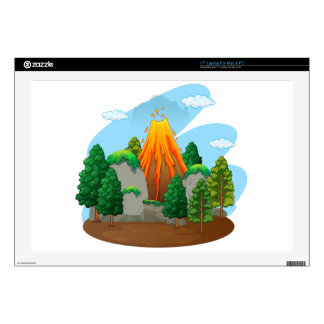 "Nature scene with volcano eruption decals for 17"" laptops"