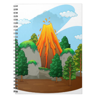Nature scene with volcano eruption notebook