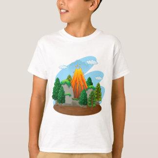 Nature scene with volcano eruption T-Shirt