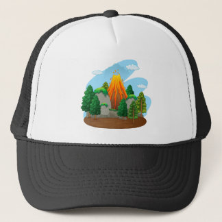 Nature scene with volcano eruption trucker hat