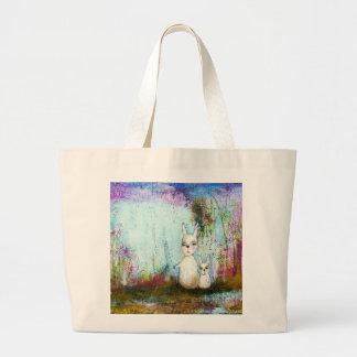 Nature School, Mama and Baby Rabbits Abstract Art Jumbo Tote Bag