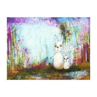Nature School, Mama and Baby Rabbits Abstract Art Canvas Print