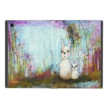 Nature School, Mama and Baby Rabbits Abstract Art Case For iPad Mini