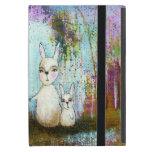 Nature School, Mama and Baby Rabbits Abstract Art iPad Mini Cover