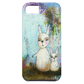 Nature School, Mama and Baby Rabbits Abstract Art iPhone SE/5/5s Case