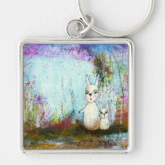 Nature School, Mama and Baby Rabbits Abstract Art Key Chains