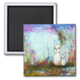 Nature School, Mama and Baby Rabbits Abstract Art 2 Inch Square Magnet