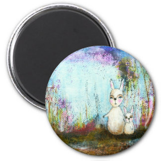 Nature School, Mama and Baby Rabbits Abstract Art 2 Inch Round Magnet
