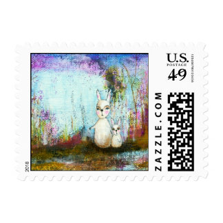 Nature School, Mama and Baby Rabbits Abstract Art Postage