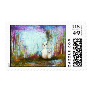 Nature School, Mama and Baby Rabbits Abstract Art Stamp