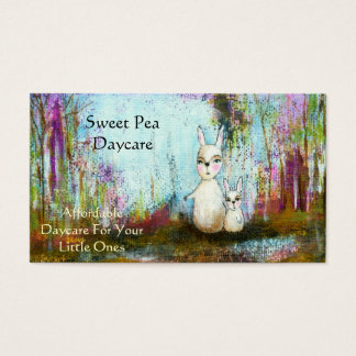 Nature School,Mama and Baby White Rabbits Folk Art Business Card