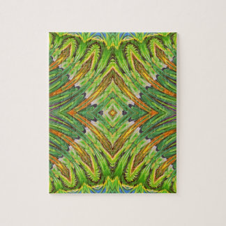 Nature Spring Stylization Design. Green Pattern Jigsaw Puzzle