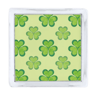 Nature Stylish Green Lucky Shamrock Clover Pattern Silver Finish Lapel Pin
