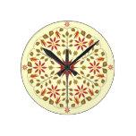 Nature Sunburst Medallion Round Wall Clocks