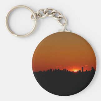 Nature Sunset Bright Red City Keychains