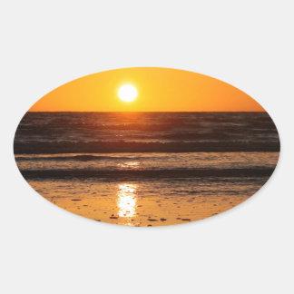 Nature Sunset Ocean Boulevard Oval Sticker