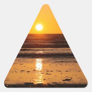 Nature Sunset Ocean Boulevard Triangle Sticker