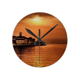 Nature Sunset Orange Town Round Wall Clock