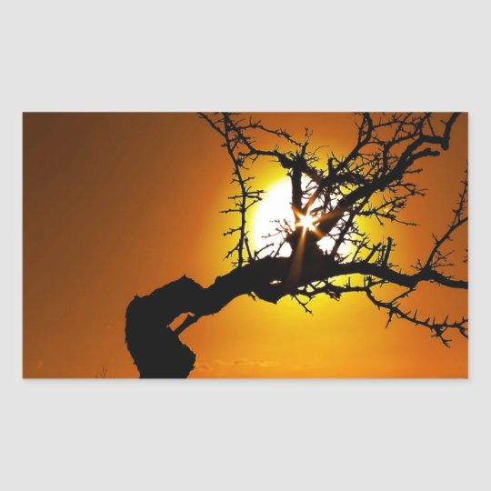 Nature Sunset Tree Piercing Light Rectangular Sticker