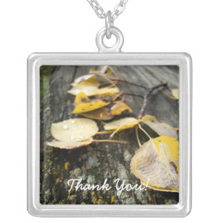 Nature Takes Over; Thank You Square Pendant Necklace