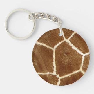 Nature Textured Photo Giraffe Animal Print Pattern Keychain